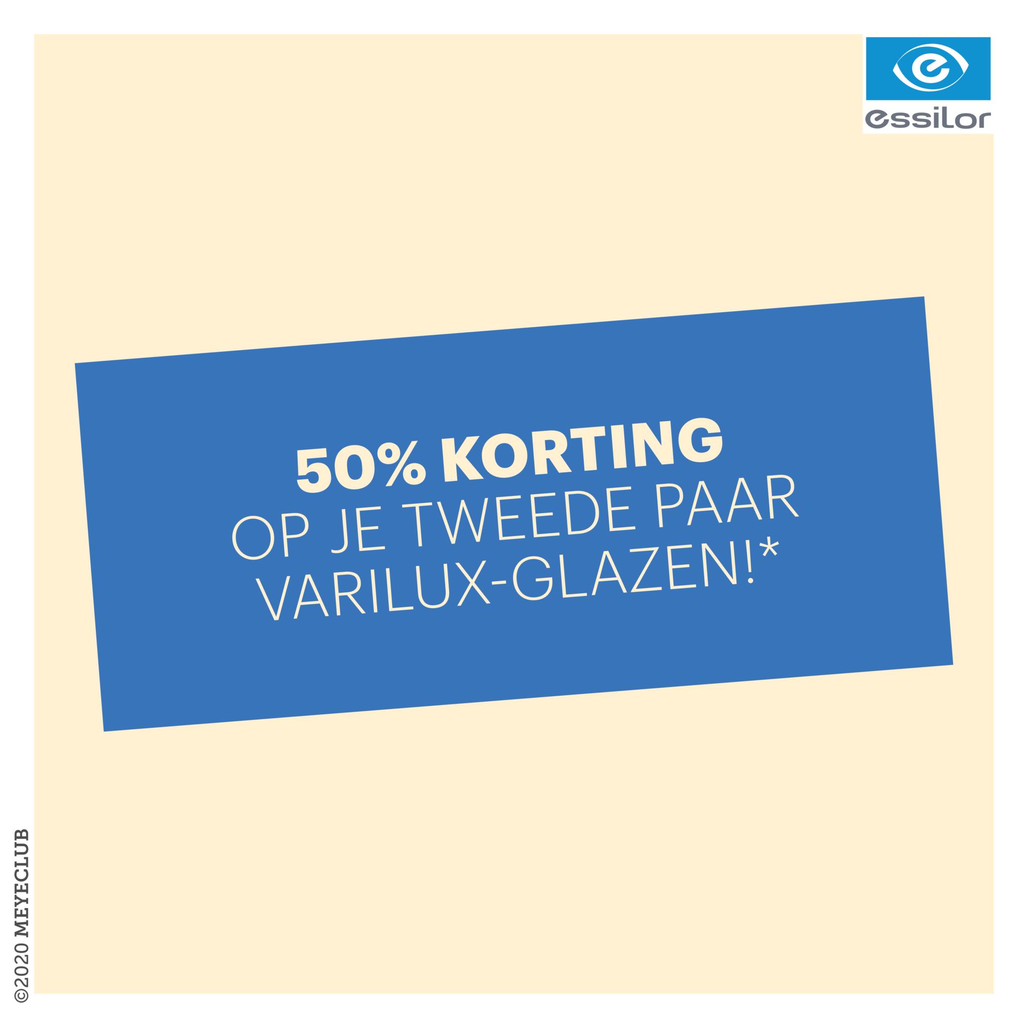 50% korting op uw tweede paar Varilux-glazen!