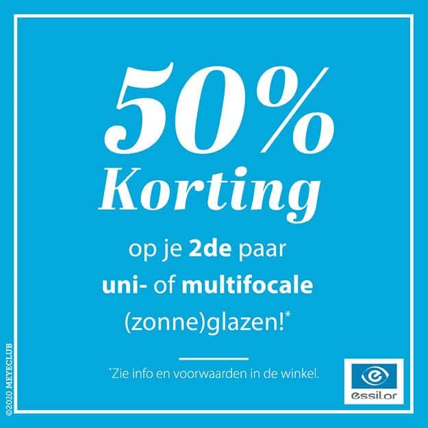50% korting op uw 2e paar uni- of multifocale (zonne)glazen